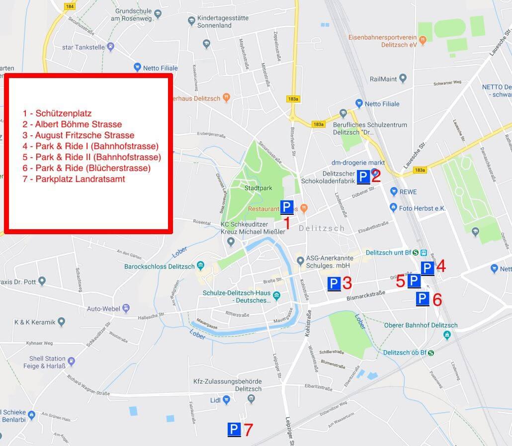 Parkplätze Stadtfest Delitzsch